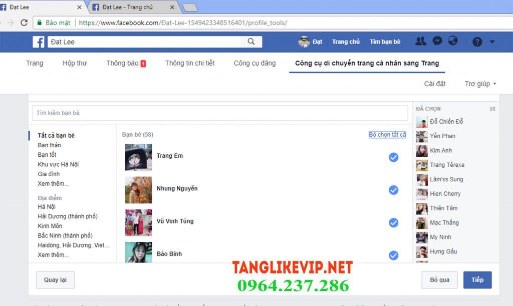 chuyen nick fb thanh fanpage