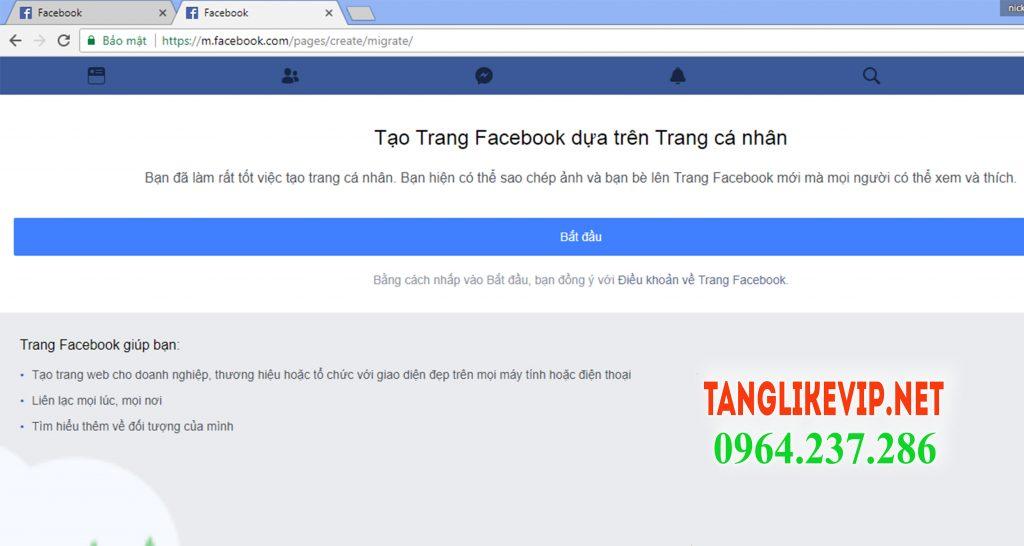 chuyen profile thanh fanpage facebook 2018