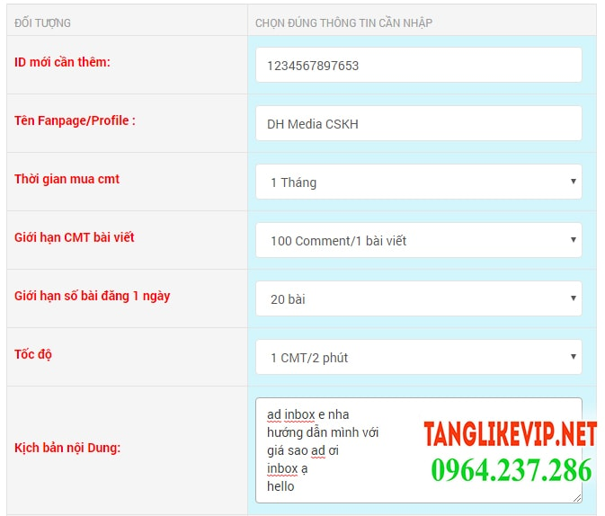 auto tang comment, tang cmt, tang binh luận facebook