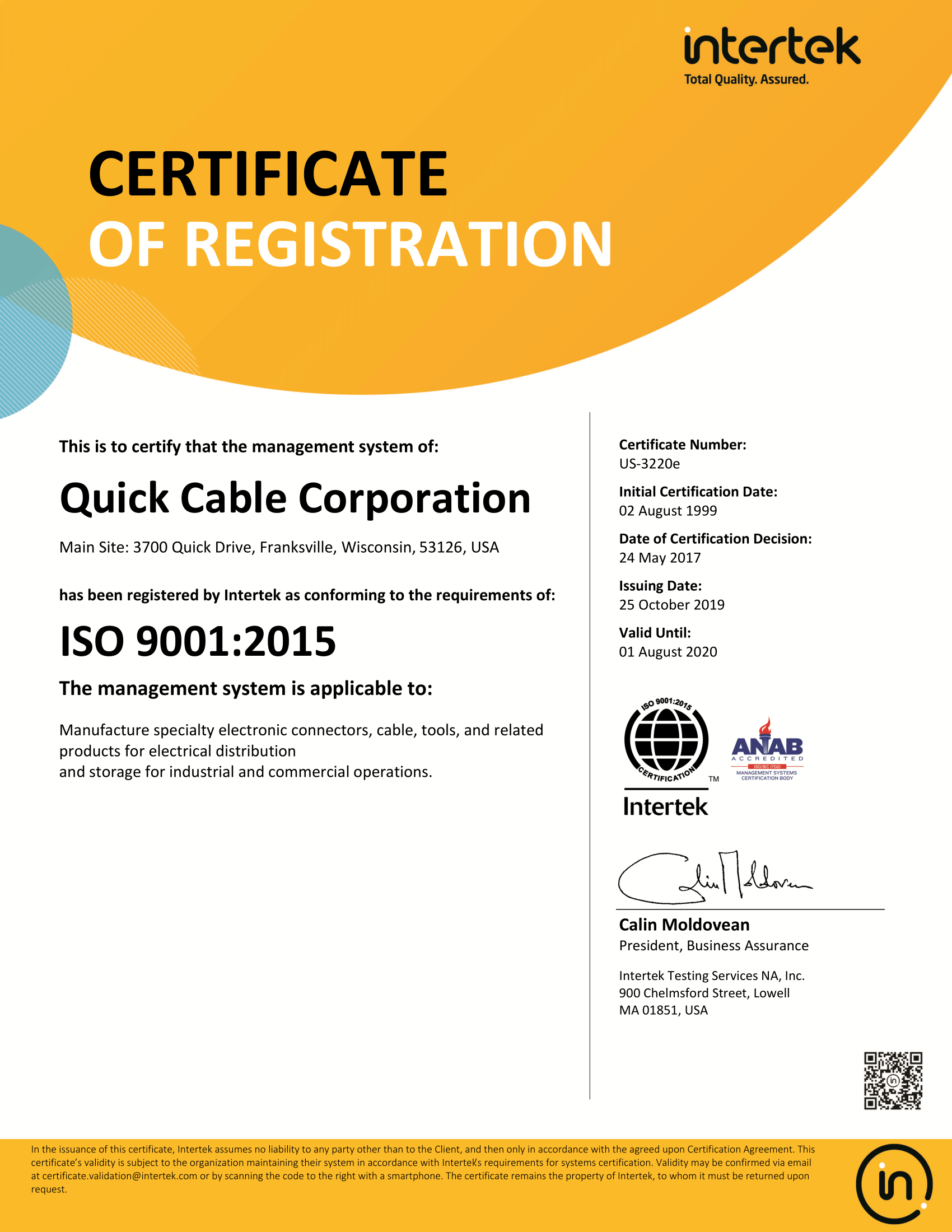 usa business certificate ios 9001